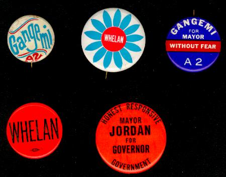 Jersey City political campaign buttons from the late '60s and the early '70s